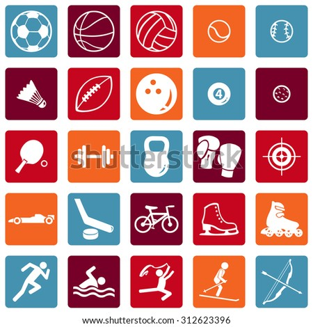 Vector Set of Sport Icons - stock vector