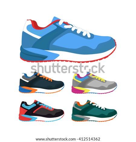 Vector set of sports shoes .Fashion sportwear,  sneakers, footwear. - stock vector