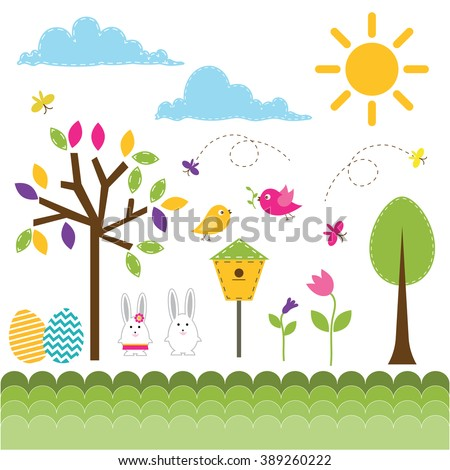 Vector set of spring theme. Hares, butterflies, birds and spring plants. - stock vector
