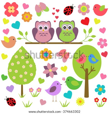 Vector set of spring theme. Spring trees, flowers, butterflies, ladybugs, love owls and other birds on an isolated white background