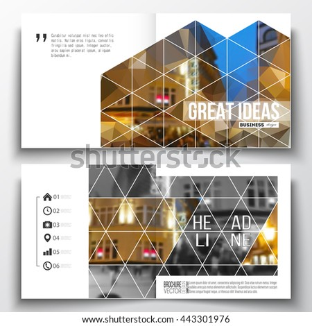 Vector set of square design brochure template. Colorful polygonal background, blurred image, night city landscape, modern stylish triangular vector texture. - stock vector