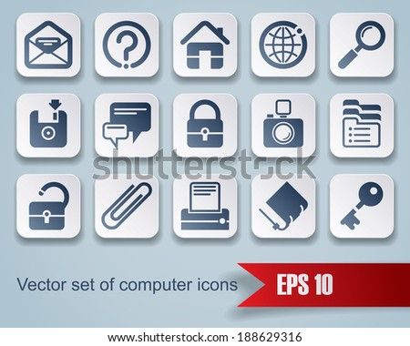 Vector set of square website and internet icons with red ribbon. Easy to edit, manipulate, resize or colorize