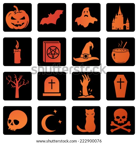 Vector Set of Squre Halloween Icons - stock vector