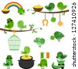 Vector Set of St Patrick's Day Themed Birds - EPS10 - stock photo