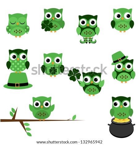 Vector Set of St. Patrick's Day Themed Owls - stock vector