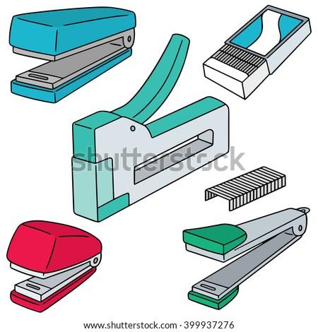 vector set of stapler - stock vector