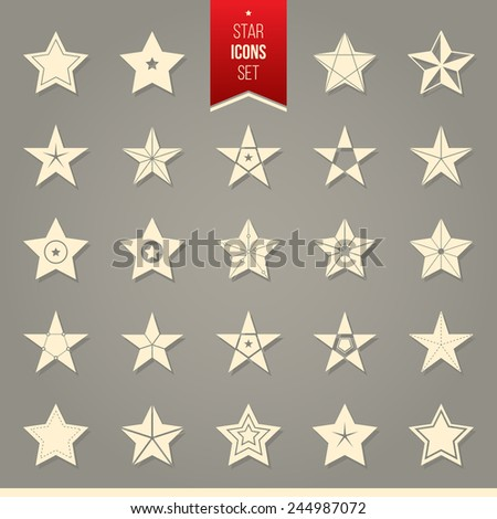 Vector set of star icons. Set of isolated star pictogram. - stock vector