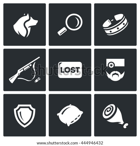 Vector Set of Stray Dogs Icons. Pooch, Search, Capture. Shooting, Loss, Veterinary, Zoo protection, Asleep, Food. Homeless street animals and their catch. Isolated symbols on a black background - stock vector