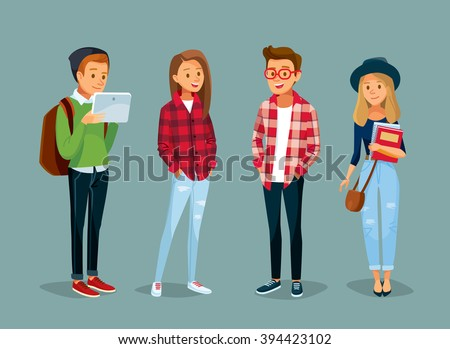 vector set of students with gadgets and books