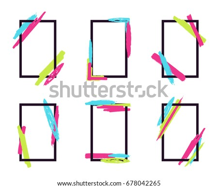 vector set of stylish dynamic frames with geometric paintbrush elements can be used for business - Dynamic Frames