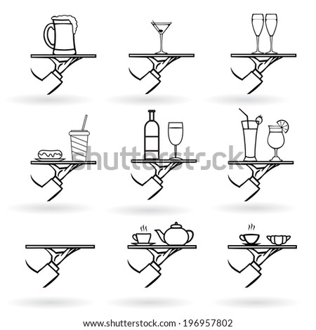 vector set of stylish hand drawn waiter with a tray,drinks icon set isolated on white background - stock vector