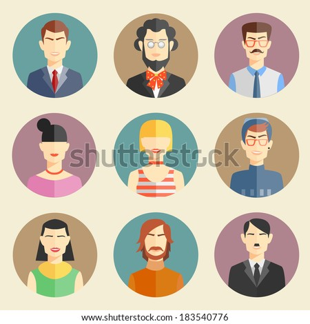 Vector set of stylish handsome characters in modern flat design - stock vector
