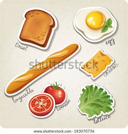 Vector set of stylized food icons. There are a toast, egg, baguette, cheese tomato and lettuce in the set. - stock vector