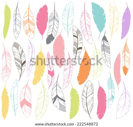 Vector Set of Stylized or Abstract Feathers and Feather Silhouettes - stock vector