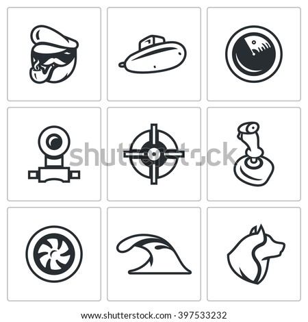 Vector Set of Submarine Icons. Captain, Boat, Radar, Periscope, Aim, Control, Torpedo, Dive, Sea Wolf. Scuba military armament of the country. Isolated symbols on a white background - stock vector
