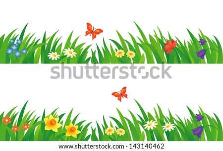 Vector set of summer grass and flowers - stock vector