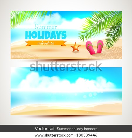 Vector set of summer holiday horizontal banners  - stock vector
