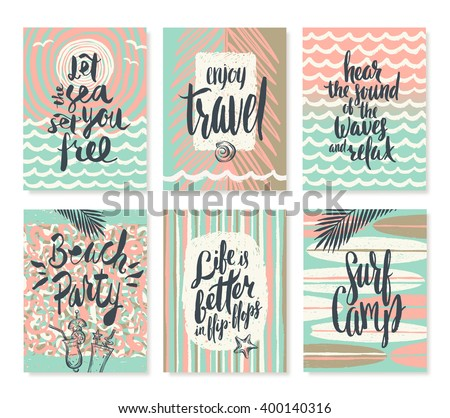 Vector set of summer holidays and tropical vacation hand drawn posters or greeting card with handwritten calligraphy quotes, words and phrases. - stock vector