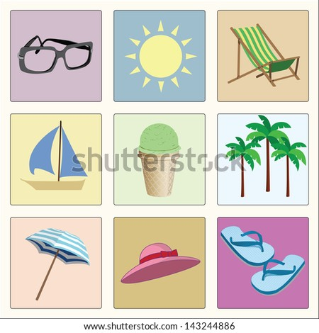 vector set of summer retro icons
