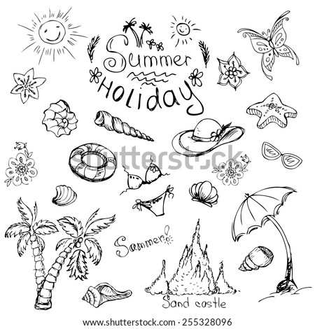 Vector set of summer travel and vacation emblems and symbols, hand-drawn - stock vector