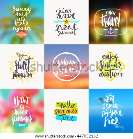Vector set of summer travel and vacation handwritten calligraphy designs with blurred backgrounds.