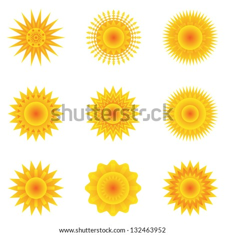 Vector set of sun icons set 3