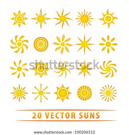 Vector set of sun symbols. - stock vector