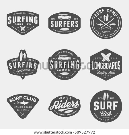 vector set surfing logos emblems design stock vector royalty free