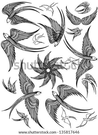 Vector set of Swallows - stock vector