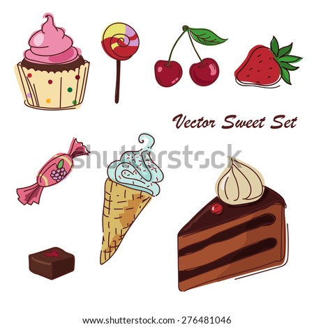 Vector set of sweets with ice cream, cake and cupcake isolated on a white background