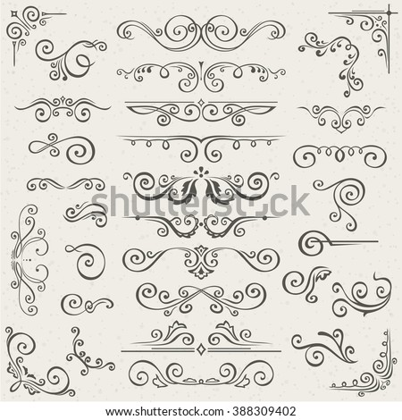 Vector set of Swirl Elements for design. Vector set of Calligraphic Design Elements for page decoration, Labels, banners, antique and baroque Frames and floral ornaments. Old paper Decoration - stock vector