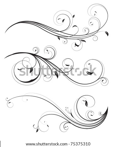 Vector set of swirling flourishes decorative floral elements - stock vector