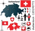 Vector set of Switzerland country shape with flags, wind rose and icons isolated on white background - stock vector