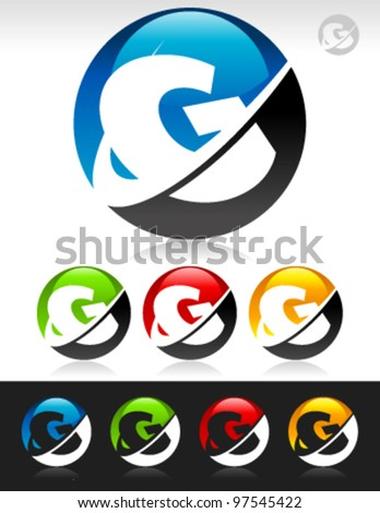 Vector set of swoosh G logo icons - stock vector