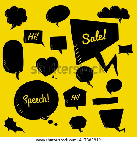 Vector set of talk and think bubbles on yellow background , group of blackdoodle speech bubles
