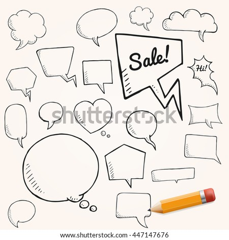 Vector set of talk and think bubbles with yellow pencil, group of oodle speech bubles on white background - stock vector