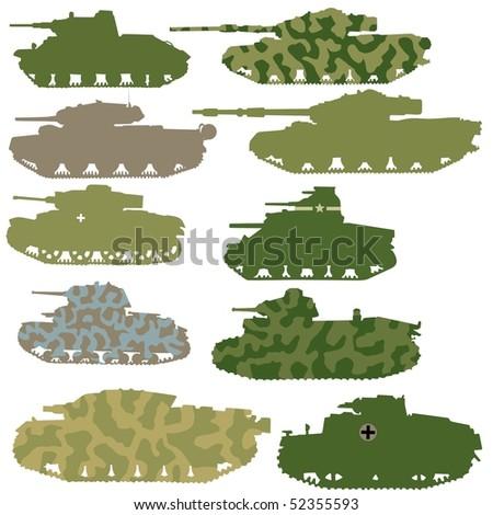 vector set of tanks - stock vector