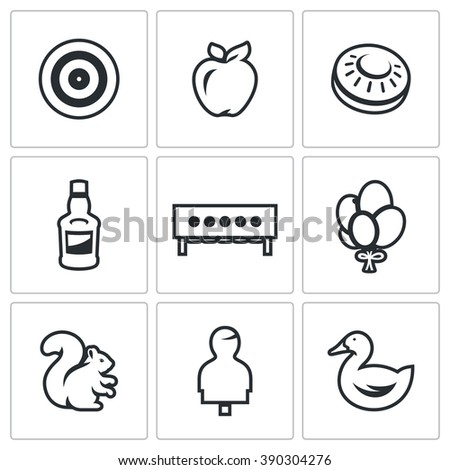 Vector Set of Target Icons. Archery, Apple, Plate for bench Shooting, Bottle, Biathlon, Balloons, Squirrel, Hhuman figure, Duck. Different types of targets for aimed fire.  - stock vector