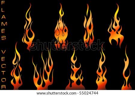Car Flames Vector Vector Set of Tattoo Flames