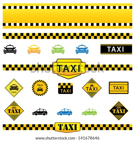 Vector Set of Taxi Icons, Signs and Labels, eps10 illustration - stock vector