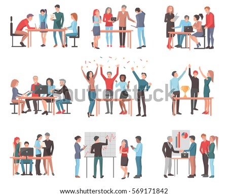 Vector set of team of workers in process of creating something, discussing idea with chief, celebrating and winning price, working with laptop, drawing scheme and presenting work in cartoon style