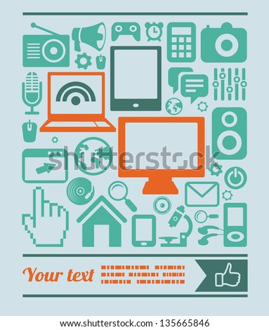 Vector set of technology icons in retro style - computers and phones - stock vector