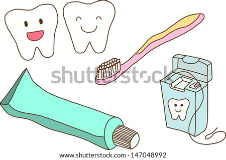 Vector set of teeth care - stock vector