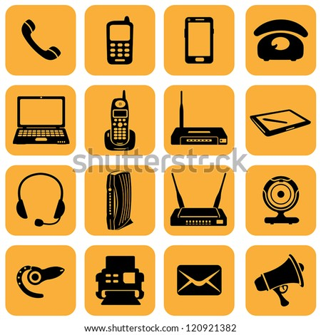 Vector Set of 16 telecommunication icons - stock vector