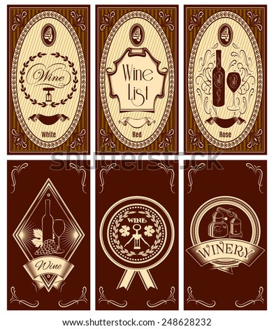 vector set of templates for business cards, menus for wine - stock vector