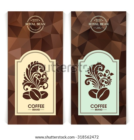Vector set of templates packaging coffee, label, banner, poster, identity, branding. Abstract color background with ornamental design elements - coffee beans. - stock vector