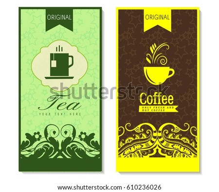 Vector Set Templates Packaging Tea Label Stock Vector 304703453