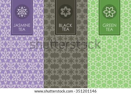 Vector set of templates packaging, label, banner, poster, identity, branding, logo icon, seamless pattern in trendy linear style for tea package - jasmin, black and green tea - stock vector