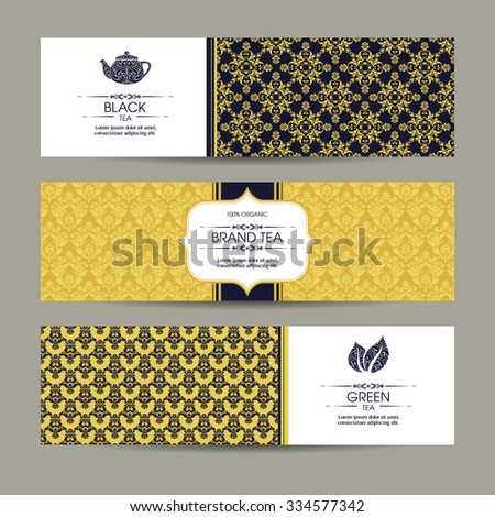 Vector set of templates packaging tea, label, banner, poster, identity, branding. Ethnic pattern background with ornamental design elements - leaf icon, teapot. Stylish design for black and green tea - stock vector