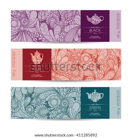 Vector set of templates packaging tea, label, banner, poster, identity, branding. Floral abstract pattern background with design elements -  teapot icon. Stylish design for black, green and fruit tea - stock vector